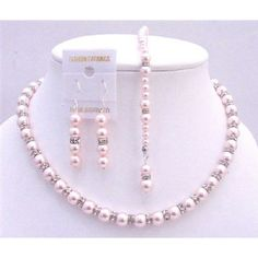 Pink Pearls Back Drop Down Necklace Bridal Jewelry Set w/ Silver Rondells Sparkling Diamond Spacer Sterling Siver Earrings Wedding Necklace Set Bridal Jewelry Sets, Wedding Jewelry, Bridal Jewellery, Swarovski Jewelry, Swarovski Crystals, Pearl Jewelry, Personalized Jewelry, Custom Jewelry, Drop Necklace