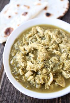 Slow Cooker Chicken Chile Verde Recipe on twopeasandtheirpod.com Love this easy slow cooker recipe!
