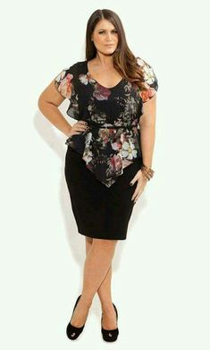 City Chic - ROSE HEAVEN DRESS - Women's plus size fashion. A longer A line black skirt & lengthen the top, throw the belt away and it would be perfect for my old body. Curvy Fashion, Plus Size Fashion, Girl Fashion, Look Plus Size, Plus Size Women, Plus Size Dresses, Plus Size Outfits, Sexy Work Outfit, Mode Xl