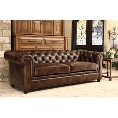Hancock Tufted Distressed Brown Italian Chesterfield Leather Sofa - Overstock Shopping - Great Deals on Sofas & Loveseats