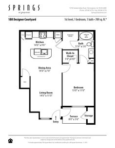 1 bedroom, 1 bath 789 sf apartment at Springs at Greystone in Birmingham, AL. This 1 bedroom apartment has a walk-in closet, 2 other closets and private terrace.  http://springsapartments.com/greystone/