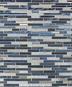 Blue gray glass quartz mosaic tile. Let this blue & gray subway interlocking mosaic tile to shine on your bathroom accent wall or kitchen backsplash.