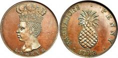 """Barbados Pineapple Penny  Title: Barbados Proof Penny  Location: Colonial America, 1788  Material: Copper  Description: Reverse pineapple with the inscription """"BARBADOES PENNY 1788"""" and obverse Blackmoor's head with inscription """"I SERVE""""  Provenance: The Strickland Neville Rolfe Collection"""