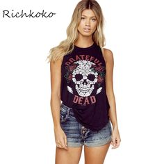 7.76$  Watch more here - Richkoko Apparel Punk Rock T-Shirt Women Casual Skull And Rose Printed Sleeveless Tops Tees Loose Black Backless Street Tshirt   #aliexpressideas
