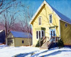 ۩۩ Painting the Town ۩۩ city, town, village & house art - Jacobus Baas Painting Snow, Painting & Drawing, House Painters, Paintings I Love, Winter Landscape, Mellow Yellow, Worlds Of Fun, Beautiful Artwork, American Artists