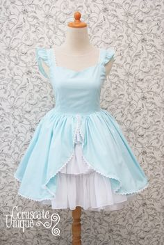 This dress is for biggest fans of Alice In Wonderland ! Imagine if Alice wear this dress for her birthday. This skirt made from cotton Japan, and I wish I was a good enough poet to describe the luxurious feel of the cotton Japan that I used for this dress || Alice in Wonderland Dress Baby Blue Sweetheart by CoruscateUnique, $125.20