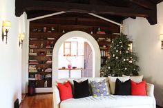 Adrianna Lopez House Tour: Eclectic Perfection - Wood Beams & Cabbage White paint by Farrow & Ball