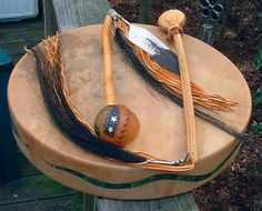 Tradition Shaman Ceremonia Drum with Rattle and Beater