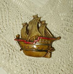 Sailing Ship Celluloid Sewing Tape Measure Vintage 1930's Brown Tones Red Bow $30.00 - The Gatherings Antique Vintage