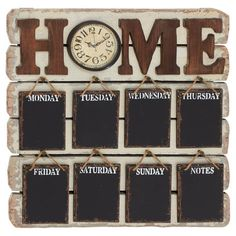 Perfect for posting memos and tracking busy schedules, this delightful wall decor features a days-of-the-week design and clock detail.