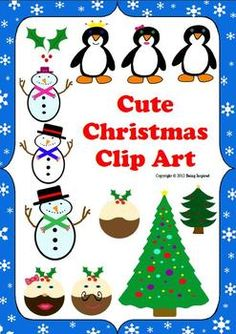 Cute Christmas clip art pack - 17 images including snowmen, penguins and plum puddings! $2.25