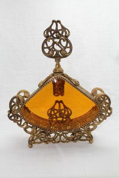 VINTAGE GOLD FILIGREE ORMOLU GLASS PERFUME BOTTLE