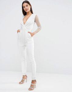 NaaNaa | NaaNaa Tuxedo Plunge Jumpsuit With Cut Out Out Mesh Sleeve at ASOS