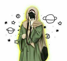 Hijabi Girl, Girl Hijab, Cute Cartoon Girl, Cartoon Art, Tmblr Girl, Hijab Drawing, Army Drawing, Islamic Cartoon, Anime Muslim