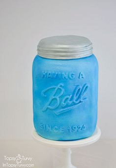 Beautiful Ball Jar Cake for a 90th birthday party.
