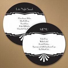 Marvelous Deco Design Circle Menu   Guests will marvel at your great wedding style when you list your menu on this round Art Deco wedding menu card! Choose the design colors to make the menus custom.