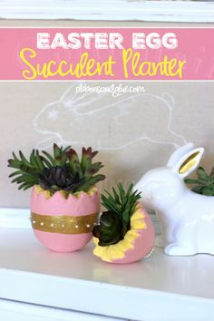 Easter Egg Faux Succulent Planter made from a foam egg and faux succulents #makeitfuncrafts
