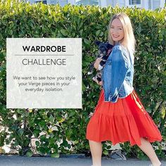 VERGE WARDROBE CHALLENGE – Style your Vintage Verge To bring a bit of joy and inspiration to your day we thought we would run a Verge Wardrobe Challenge!  We want to see how you style your Verge pieces in your everyday isolation scenarios and give inspiration to our other Verge ladies.  Tag us on Facebook and Instagram, or flick us an email, and we will share some of your looks.  To get you started here is Kerrin from our team walking her puppy Kobe, wearing the Florida Denim Jacket with a… Kobe, Your Style, Tulle, Walking, Challenges, Florida, Facebook, Denim, Lady