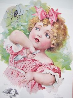 A framed copy of a Victorian Little Miss Muffet illustration by Maud Humphrey Bogart, a well known watercolorist, suffragette and also the mother of famed actor Humphrey Bogart. The original dates ...