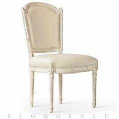 Eloquence® Flins Dining Chair Gesso & Oyster Buttermilk Leather