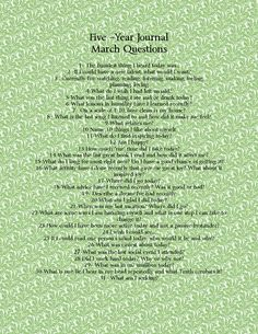 Five Year Journal March Questions www.cupofdelight.blogspot.com