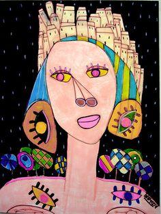 Eine Gouache der französischen Künstlerin. Mehrere Arbeiten sind neben vielen Arbeiten anderer Künstler zu sehen auf www.artbrut.li oder auf www.aussenseiterkunst.ch
