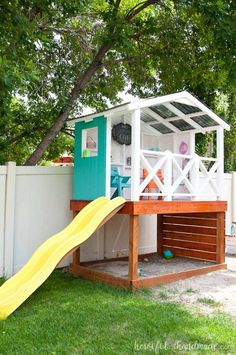 Build the perfect adventure clubhouse for the kids this summer. The complete build plans including cost breakdown for this outdoor playhouse can be found at Housefulofhandmade.com