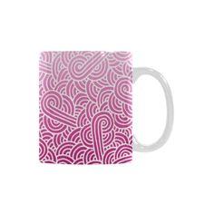 Ombre pink and white swirls zentangle White Mug (11 OZ) by @savousepate on @artsadd