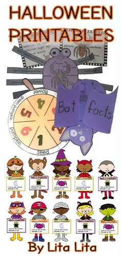 Lots of different craftivities for Halloween! 10 Halloween kids for writing activities, bat facts, spider facts, pumpkin cycle and two different printable Halloween cards.$ Everything English & Spanish