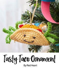 Tasty Taco Ornament free crochet pattern in Super Saver.