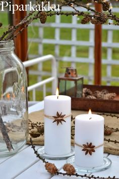 white candle and star anise Winter Christmas, Christmas Crafts, Merry Christmas, White Candles, Pillar Candles, Have A Happy Holiday, Scandinavian Christmas, Childhood Toys, Jingle Bells