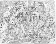 DC Universe Online Celebration Art by Jim Lee//Covers and Splashes/Jim Lee/ Comic Art Community GALLERY OF COMIC ART