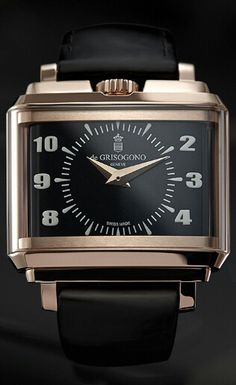 De Grisogono New Retro Black Stripes for ONLY WATCH 2015 - A departure from the flamboyant watches De Grisogono made its name with, the New Retro is inspired by a vintage cigarette case from the 1950s belonging to founder Fawaz Gruosi. With rounded edges and an oblong form, it is also reminiscent of travel clocks from the period. A unique version christened the New Retro Black Stripes has been created for charity auction Only Watch 2015, with four rows of black diamonds hidden on the case…