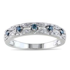 1/5 CT. T.W. Enhanced Blue and White Diamond Vintage-Style Band in 10K White Gold - Zales