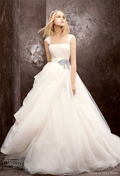 white by vera wang fall 2012 ball gown straps wedding dresses