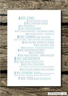 Lass' es dir einfach gut gehen: Von A bis Z! - Druck/Wandbild/Print: Wellness-ABC