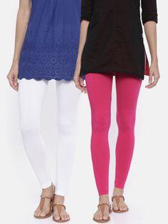 dacc3f158069d9 Bitz Women White & Magenta Solid Pack Of 2 Ankle-Length Leggings - | 622