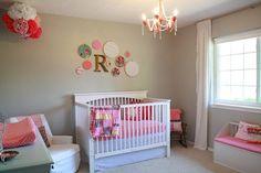 Baby Nursery Decor, Simple Cute Baby Girl Nursery Theme Vintage Designs Interior Colors Decoration Pink Chandelier Room Daughter White ~ Best baby girl nursery theme