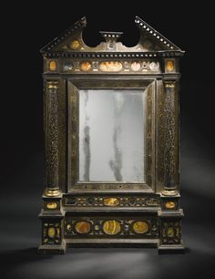 Italian antique marble inlaid black lacquer and parcel-gilt tabernacle mirror frame, Venice, late 16th century