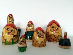 Happy Gnomes Vintage Nesting Babushka Dolls by BackInTimeBabushkas  #vintage #collectibles #vogueteam