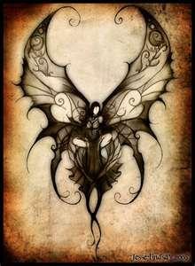 Dark angel or Dark Fairy? Elfen Fantasy, Fantasy Art, Tattoo Sketch, Tattoo Art, Borboleta Tattoo, Kunst Tattoos, Doodles Zentangles, Fairy Art, Book Of Shadows