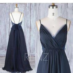 Brautjungfer Kleid Navy Blau Chiffon Brautkleid mit Schleife