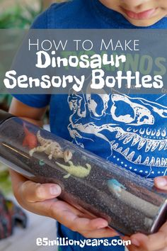 See how easy it is to make these dinosaur sensory bottles for when your child needs to calm down and relax. Dinosaur activities for kids | kids activities | sensory bottles diy | sensory activities