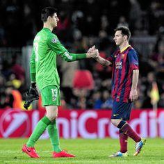 Thibaut Courtois en Lionel Messi. Courtois is Spaans Kampioen met Atletico Madrid 2013-2014.