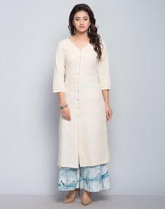 Cotton Khadi Front Open Contrast Top Stitch Long K Long Kurtas, Pakistani Suits, Kurti, Contrast, Indian, Shirt Dress, Stitch, Patterns, Casual