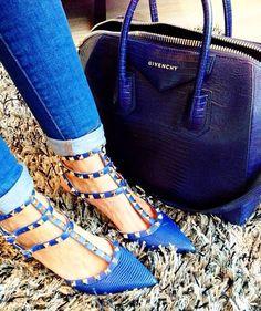 valentino rockstud pumps and givenchy indigo blue bag. #bagporn #shoeporn #perfectpairings