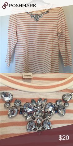 J. Crew Factory Embellished Knit Top Beautiful and comfortable J. Crew Factory shirt! Excellent condition. Perfect for fall. J.Crew Factory Tops