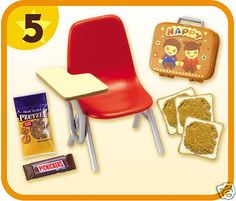 Re-Ment Miniature AMERICAN KITCHEN #5 SCHOOL CHAIR LUNCH BOX PRETZELS Doll Food