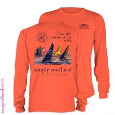 Coral Sailboats Long Sleeve Simply Southern Shirt