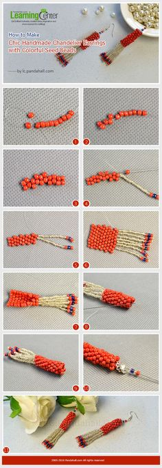 How to Make Chic Handmade Chandelier Earrings with Colorful Seed Beads from LC.P… - handmade chandelier Seed Bead Tutorials, Jewelry Making Tutorials, Beading Tutorials, Beaded Necklace Patterns, Seed Bead Patterns, Beading Patterns, Seed Bead Bracelets, Seed Beads, Peyote Bracelet